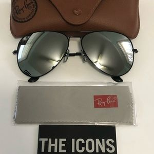 New Ray Ban Silver Mirrored Aviator Sunglasses